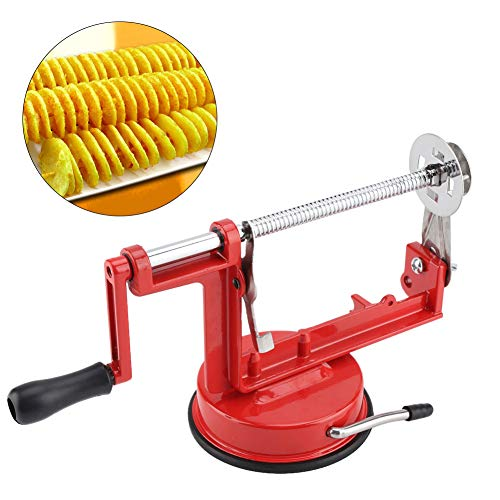 - Stainless Steel Manual Twisted Potato Slicer Spiral Chips Vegetable Cutter with Suction Base Kitchen Tool