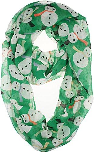 Vivian & Vincent Soft Light Weight Christmas Snowman Green Sheer Infinity (Snowman Soft)