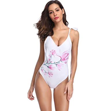 f943d75ce416 Bikini Factory Women's Plunge V Neck Ruffle Halter One Piece Swimsuit  Backless Swimwear Bathing Suit at Amazon Women's Clothing store: