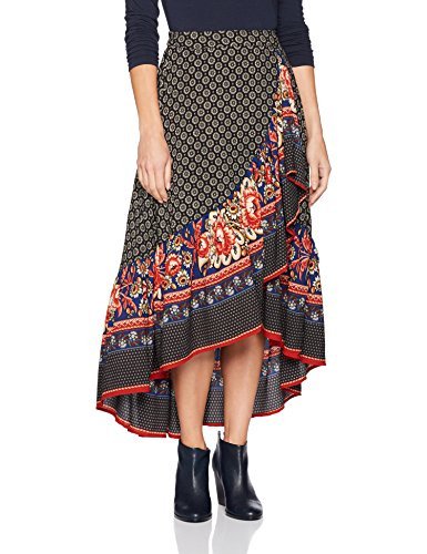 Angie Women's Printed Maxi Skirt with Ruffle, Ivory, Small
