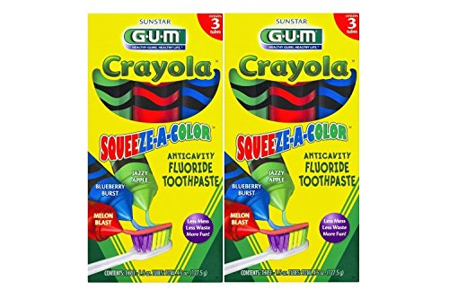Toothpaste Apple Flavored (Sunstar GUM Crayola Squeeze-A-Color Anti-Cavity Fluoride Toothpaste 1.5 Ounce, 3 Tubes (Pack of 2))