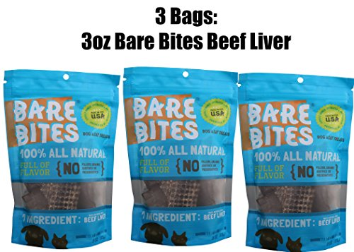 Bare Bites 100% All Natural Dried Beef Liver Dog Treats - (3 Pack of 3 Ounces Bags)