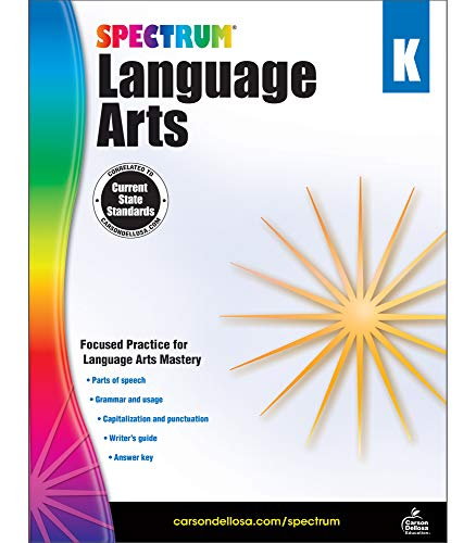 Carson Dellosa - Spectrum Language Arts, Focused Practice for Language Arts Mastery for Kindergarten, 128 Pages, Ages 5-6 with Answer Key