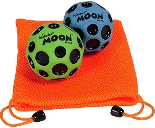 Waboba Moon Balls, Bundle of 2, 1 Blue & 1 Green, with Bonus Orange Mesh Drawstring Pouch || Bundled ()