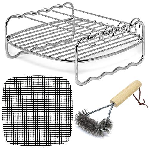 Air Fryer Rack Accessories Compatible with Philips, NuWave Brio, Chefman, Secura, Black+Decker, Tidylife, Emerald, Maxi Matic Elite, Habor, Della, COSORI +More Deep Fryers 2.0 QT & Up | by Infraovens ()