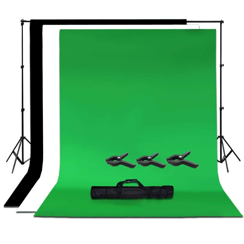 8.5ft X 10ft/2.6M X 3M Background Stand Support System with 6ft X 9ft/1.8M X 2.8M Backdrop(White,Black,Green) for Portrait,with 3 Clamps,Product Photography and Video Shooting