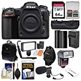 Nikon D500 Wi-Fi 4K Digital SLR Camera Body with 64GB Card + Backpack + Flash + LED Light + Mic + Battery & Charger + Grip + Kit