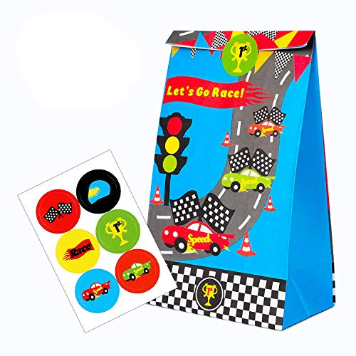 BeYumi 24 PCS Goodie Candy Treat Bag Race Car Inspired Party Favor Supplies, Let's Go Race Paper Boxes with Car Party Favor Stickers for Racecar Themed - Cars Bags Gift