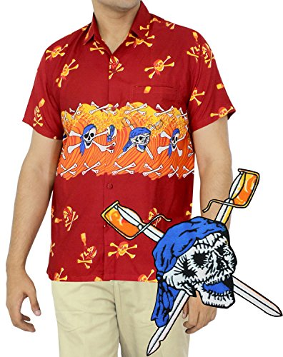 La Leela Skulls Bones Pirate Day of the dead Camp Casual Hawaiian Beach aloha mens Shirt 5XL Red Fathers Day Gifts Spring Summer (Pirate Clothing For Sale)