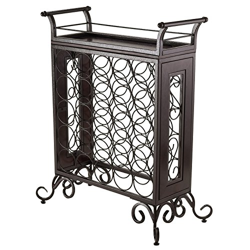 Winsome Silvano Wine Rack 5x5 with Removable Tray, Dark Bron