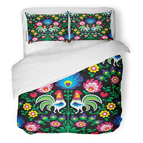 Quilt Twin Rooster - Tarolo Bedding Duvet Cover Set Colorful Animal Polish Folk Pattern Roosters Wzory Lowickie Wycinanka Green Floral Heart 3 Piece Twin 68