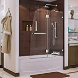 DreamLine Aqua Lux 48 in. Width, Frameless Hinged Tub Door, 5/16'' Glass, Chrome Finish