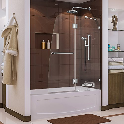DreamLine Aqua Lux 48 in. W x 58 in. H Frameless Hinged Tub Door in Chrome, SHDR-3348588-01