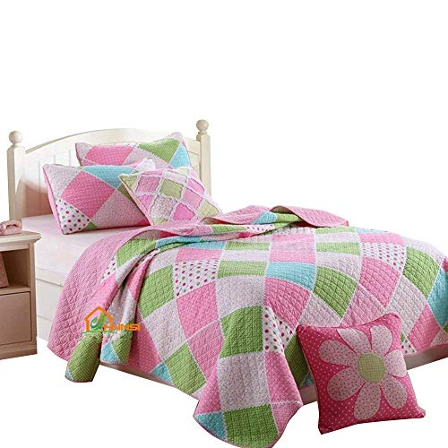 HNNSI 2 Piece Cotton Kids Girls Quilt Comforter Set Twin Size, Children Teens Girls Bedspread Bedding sets(Pink Blue Green White Patchwork)