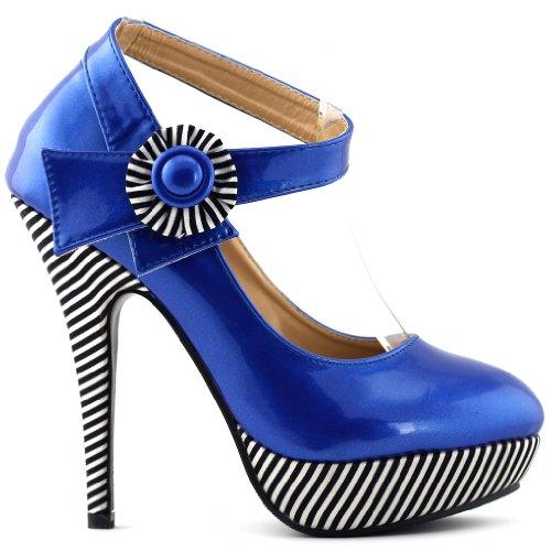 Ankle Shoes Show Sexy Story Sapphire LF30404 Platform Stiletto Flower Stripe Strap Pumps 6ptBrp7qzw