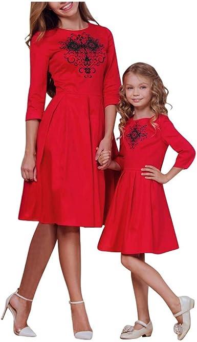 Bébés filles mère fille Santa Arbre Neige Flocons de Noël Noël robe Swing