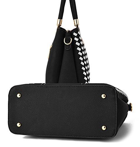 broderie main sac bandoulière poignée NUCLERL dames supérieure bandoulière pour sac à Noir avec tout sac Noir fourre à sac sac Shopper Blanc de à w4xttqCd