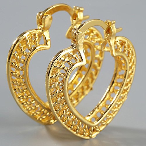 Filled Heart Dangle - Jewelryamintra Fashion 18K Yellow Gold Filled Heart Cut Ear Stud Hoop Dangle Earrings Jewelry