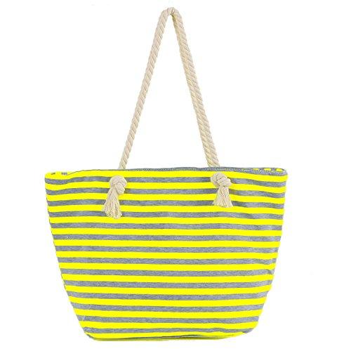 DonDon Damen Strandtasche Shopper mit Reissverschluss 46 cm 32 cm 16 cm in trendigen Farben Streifen grau gelb