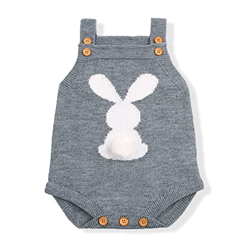 mimixiong Baby Knit Rompers Clothes Toddler Jumpsuit Easter Bunny Sleeveless Outfit (90,Grey)