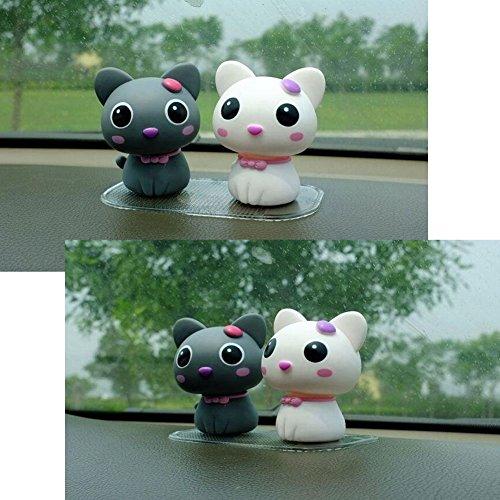 "Kangkang@ Set of 2 Cute Kitty Bobbleheads Car Ornaments Auto Decorations,3.5"",grey&white Cat Furnishing Articles Spring Doll Supplies Automotive Interiors Cartoon Dolls"