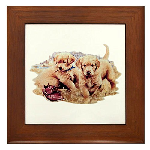 (Framed Tile Golden Retriever Puppies)