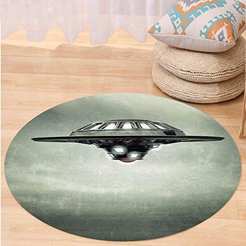Sanitizer Vessel (Niasjnfu Chen Custom carpetOuter Space Decor Disc Shaped Saucer Craft Vessel in Air on Grungy Background Sky Fiction Decor for Bedroom Living Room Dorm Grey)