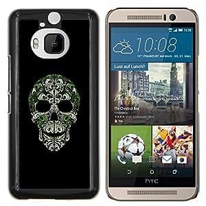 Caucho caso de Shell duro de la cubierta de accesorios de protección BY RAYDREAMMM - HTC One M9Plus M9+ M9 Plus - Cráneo Bling Naturaleza Plata Verde Esqueleto