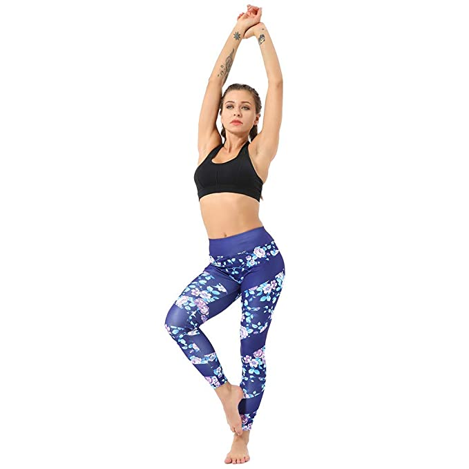 1b858015bbebc6 Amazon.com: Yoga Pants for Women Butt Lifting Women's Casual Floral Print  High Waist Yoga Running Sports Pants Trouser: Clothing
