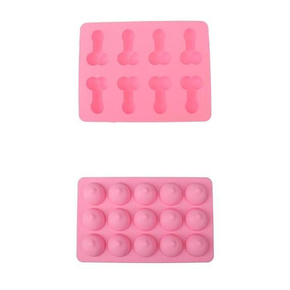 B Blesiya Penis Willy 8 rejillas + molde de boobie 15 rejillas molde de gelatina para despedida de soltera, color rosa, antiadherente y fácil de liberar del ...