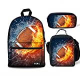 FOR U DESIGNS Teenager Children's Bookbag Canvas Backpack One Set + Picnic Lunch Box + School Pen Case Fire Football