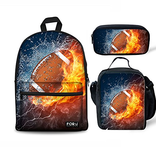 Fire Football - FOR U DESIGNS Teenager Children's Bookbag Canvas Backpack One Set + Picnic Lunch Box + School Pen Case Fire Football