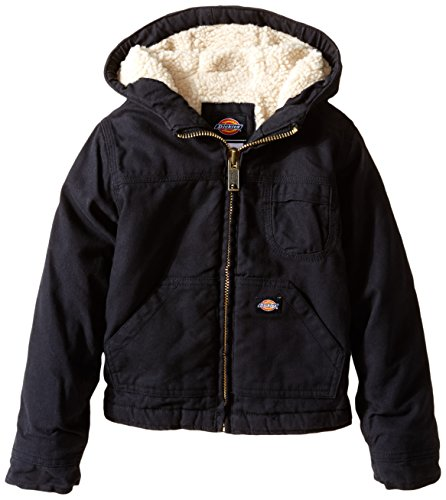 Dickies Little Boys' Sherpa Lined Duck Jacket, Black, Medium (5/6)