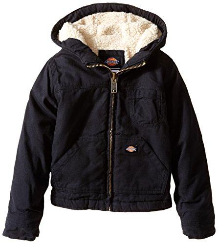 (Dickies Little Boys' Sherpa Lined Duck Jacket, Black, Large (7))