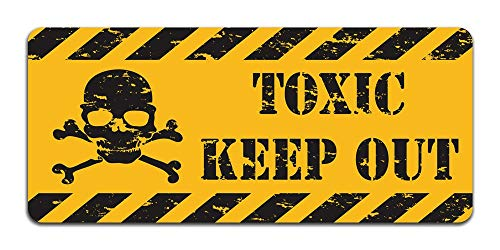 (Print Crafted Toxic: Keep Out - Vintage Metal Caution Sign Bathroom, Bedroom, Office, Man Cave Door Decor 12