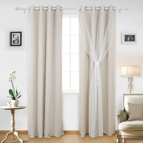 Deconovo Grommet Top Thermal Insulated Blackout Curtains Light Beige Set of 2 and 2 Mesh White Sheer Curtain