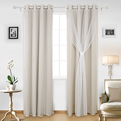 Deconovo Grommet Top Window Curtains Mix and Match Tulle White Sheer Curtains Light Beige 2 Panels and 2-Piece Thermal Insulated Blackout Curtians for Bedroom 4 Peice of Panels 52X95 Inch