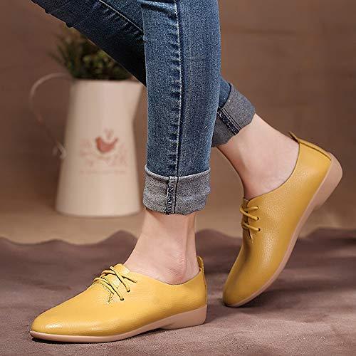 Sanfashion Du Chaussures Vin À Lacets Bout Pointu Classique Femmes Couleur Unie Plat Simples Loisirs Derby N8v0PwnmOy
