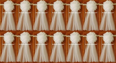 White Tulle Wedding Bows Pew Bows Church Decorations Set Of 14 LARGE 12''x32''