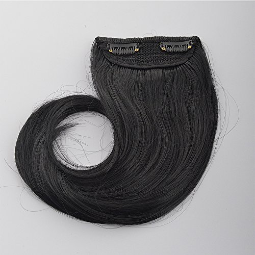 9 Inches Natural & Real Thick Straight Side Bang Fringe Clip In Hair Extension 30g (Dark Black)