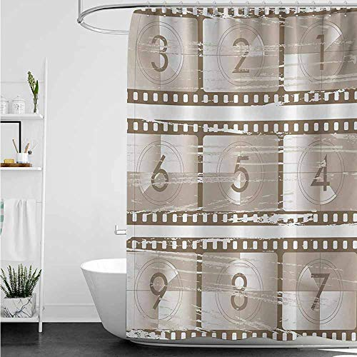 home1love Waterproof Bathtub Curtain,Numbers Vector Style Illustration of Countdown Numbers on a Film Strip Pattern Print,Metal Build,W47x63L,Umber Warm Taupe