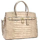 MKY Women Large Handbag Designer Purse Leather Satchel w/ Removable Shoulder Strap Stone