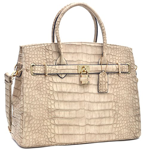 MKY Women Large Handbag Designer Purse Leather Satchel w/ Removable Shoulder Strap Stone Crocodile Travel Bag