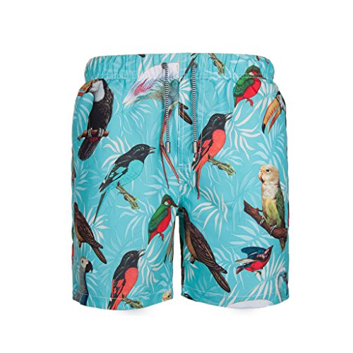 Beach Pants FORWIN US- Men's Lake Blue Quick Dry Seaside Vacation Swim Shorts Men Loose Large Size Hot Spring Shorts (Size : M) by Beach Pants