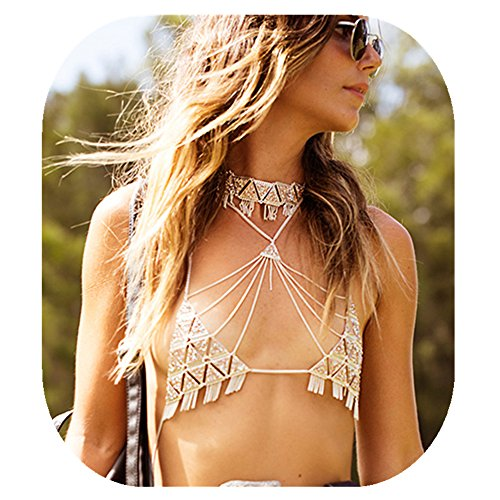 JeVenis Sexy HarnessBikini Chain RhinestoneBralette Hobo Body Jewelry (Gold - with flapper) by JeVenis