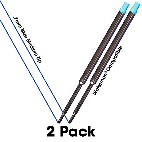 Jaymo - 2 - Blue Waterman Compatible Ballpoint Pen Refills - Smooth Writing German Ink with .7 mm Medium Tip - Compare to Waterman - Refill Ballpoint Waterman