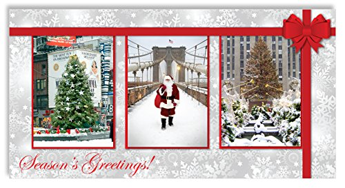 New York Christmas Money Cards Holders Set of 6 (6 Money Cards, 6 Envelopes) - NYC Landmarks - Times Square, Brooklyn Bridge, Rockefeller Center