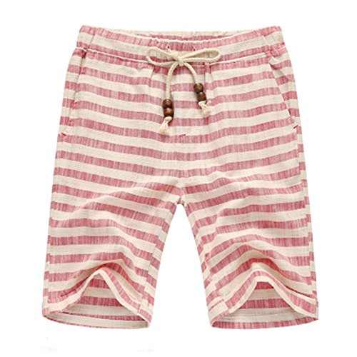 manwan-walk-mens-linen-casual-classic-fit-short-b311-medium-tiaowen-red