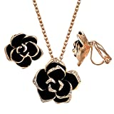 Yoursfs Black Flower Jewelry Set 18K Rose GP Sexy Rose Flower lacing with Rhinestones Non-pierced Clip Earrings&Necklace