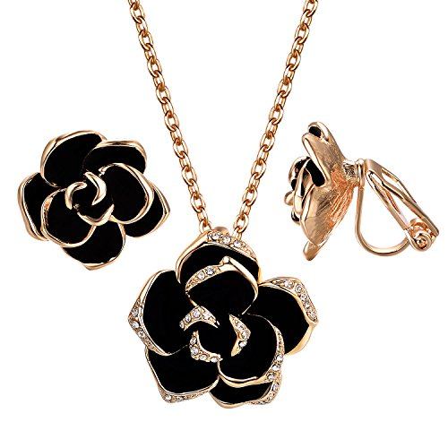 Rhinestone Earrings Clip Flower - Yoursfs Black Flower Jewelry Set 18K Rose GP Sexy Rose Flower Lacing with Rhinestones Clip Earrings&Necklace